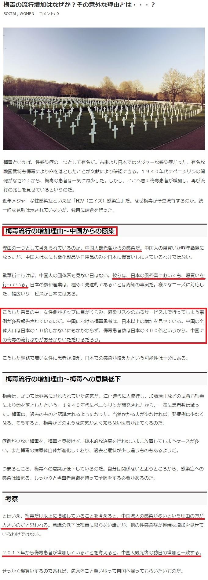 日本人の梅毒感染の原因はシナ人