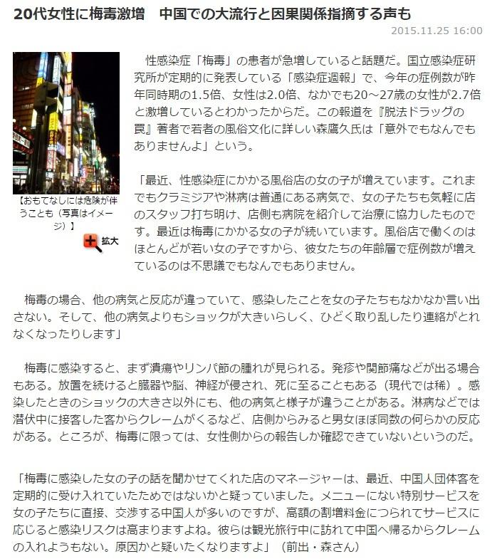 0代女性に梅毒激増 中国での大流行と因果関係指摘する声も
