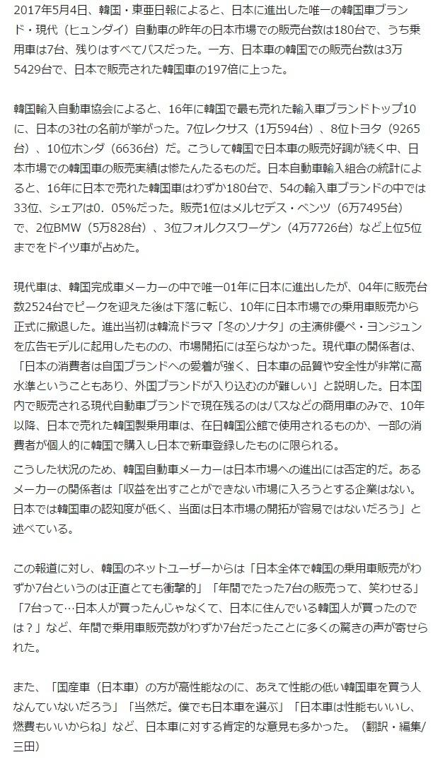 日本で昨年売れた韓国乗用車、たった7台2
