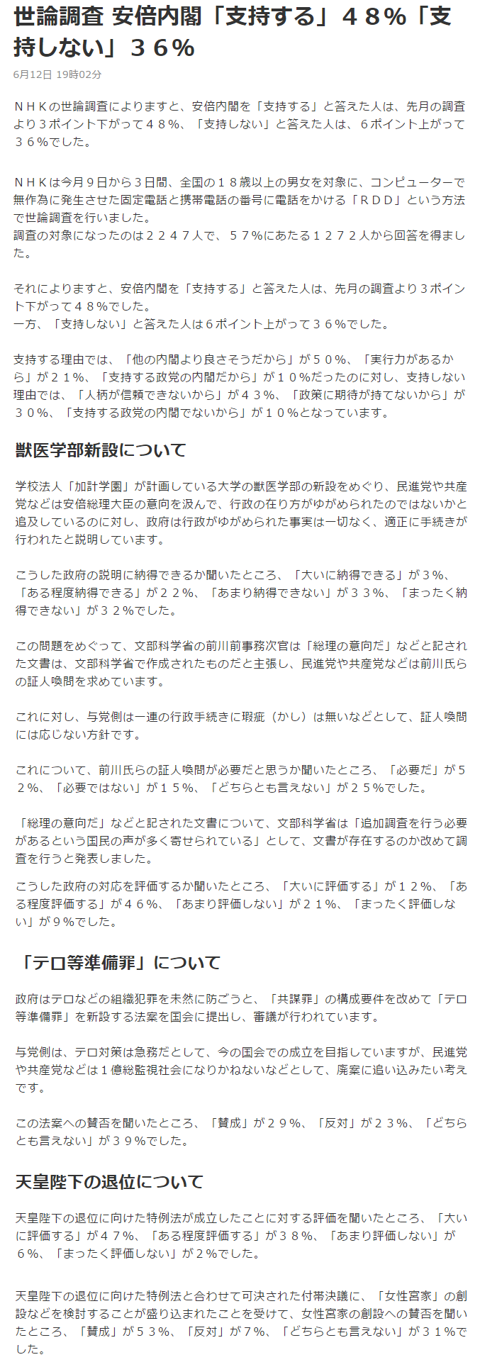 反日NHKの世論調査