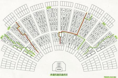 参院国会、野党席側の画像と座席票2