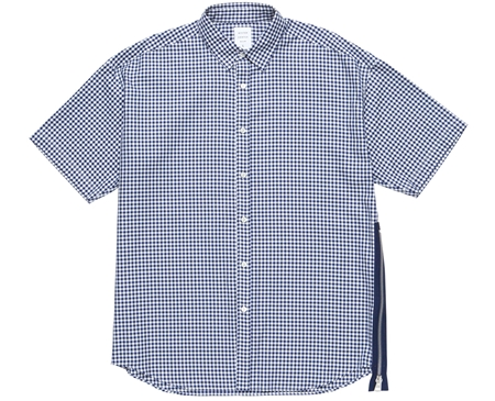 MGK-SSH06 SIZE ZIP S_S SHIRT NAVY GINGHAM NAVY ZIP_R