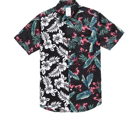 MGK-SSH12 HAWAIIAN FLOWER MIX SHIRT BLACK_R