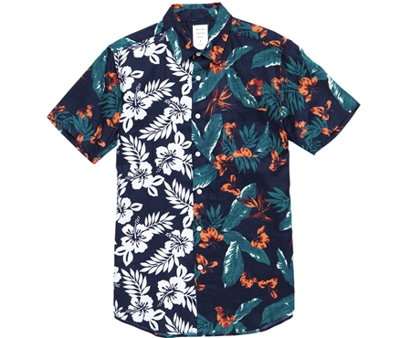 MGK-SSH12 HAWAIIAN FLOWER MIX SHIRT NAVY_R