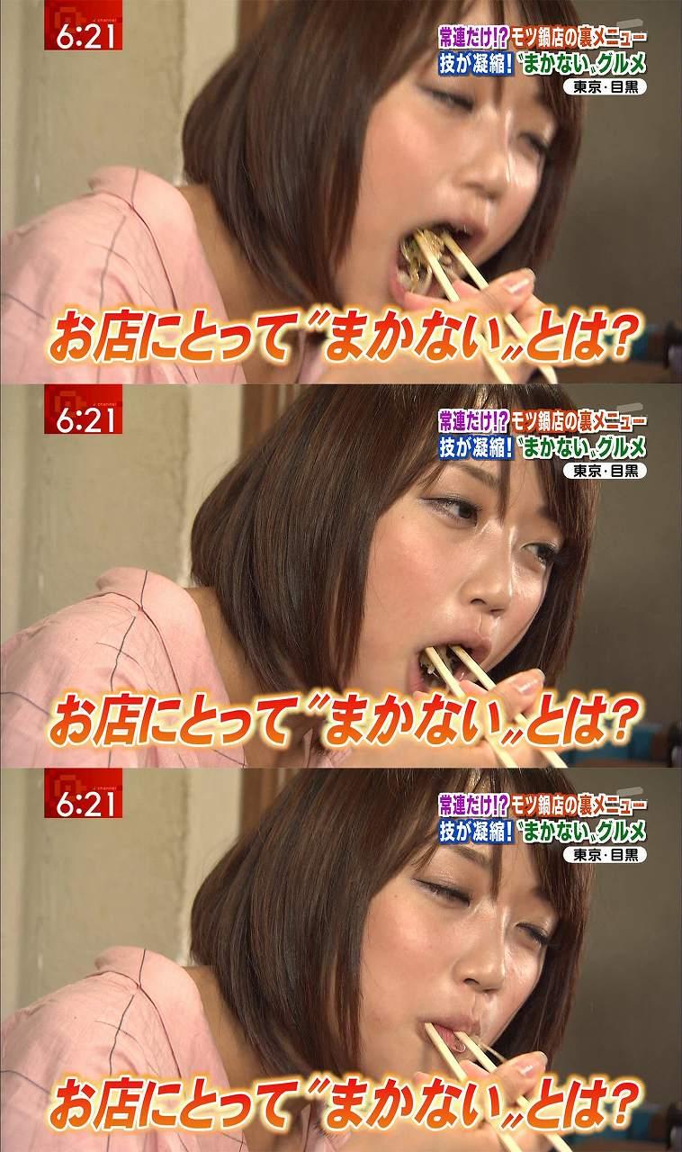 食レポで食べる竹内由恵アナ