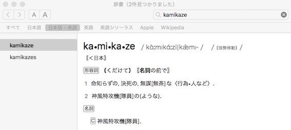辞書 kamikaze