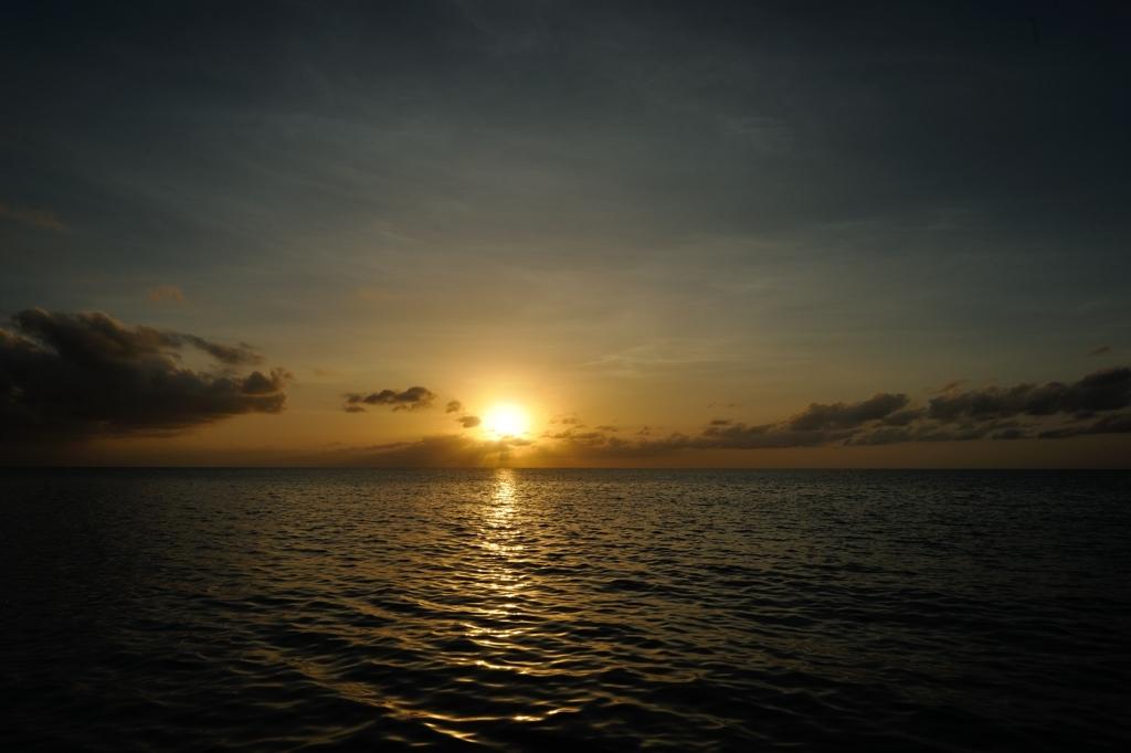 北硫黄島で見る夕陽