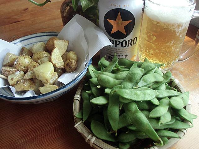 枝豆にビール