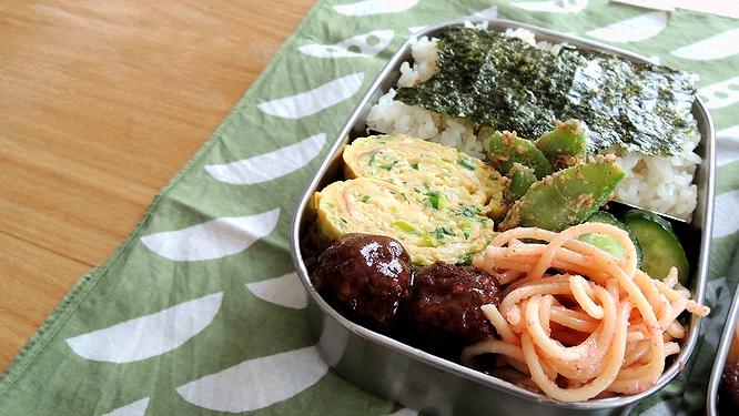 葱とチーズのだし巻き弁当ズーム