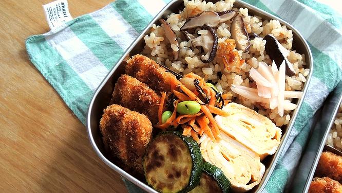 焼き椎茸のバター醤油ご飯弁当ズーム