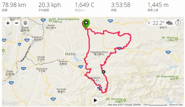 山岳グランフォンド吉野2017試走会