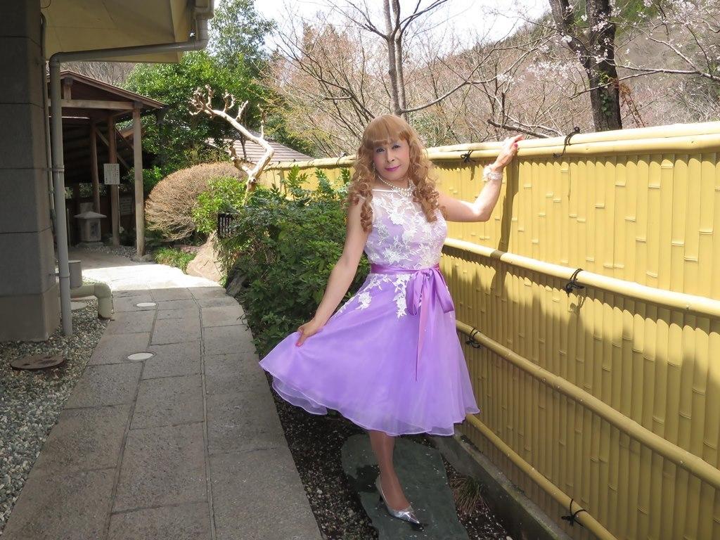 紫ショートドレス竹塀前B(5)