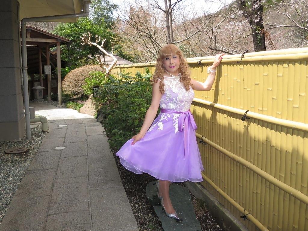 紫ショートドレス竹塀前B(6)