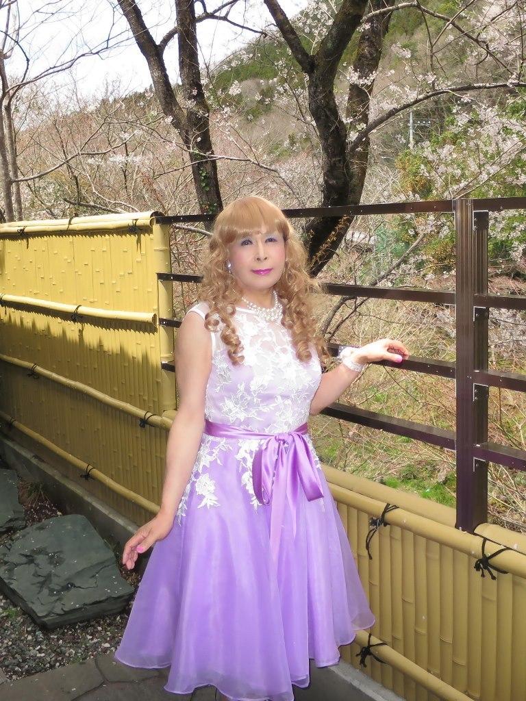 紫ショートドレス竹塀前B(3)