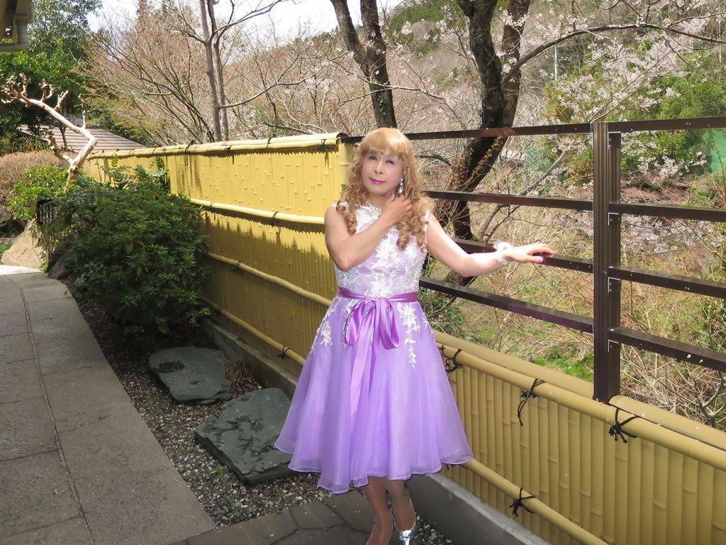 紫ショートドレス竹塀前B(4)