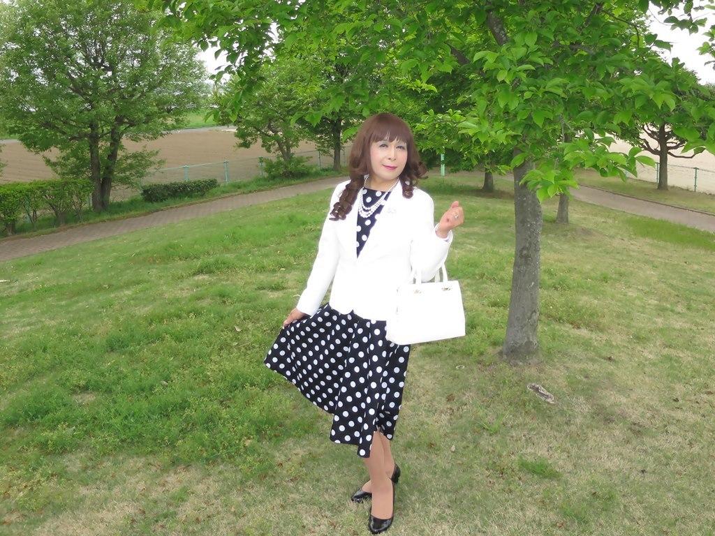 白ジャケット水玉ワンピA(4)