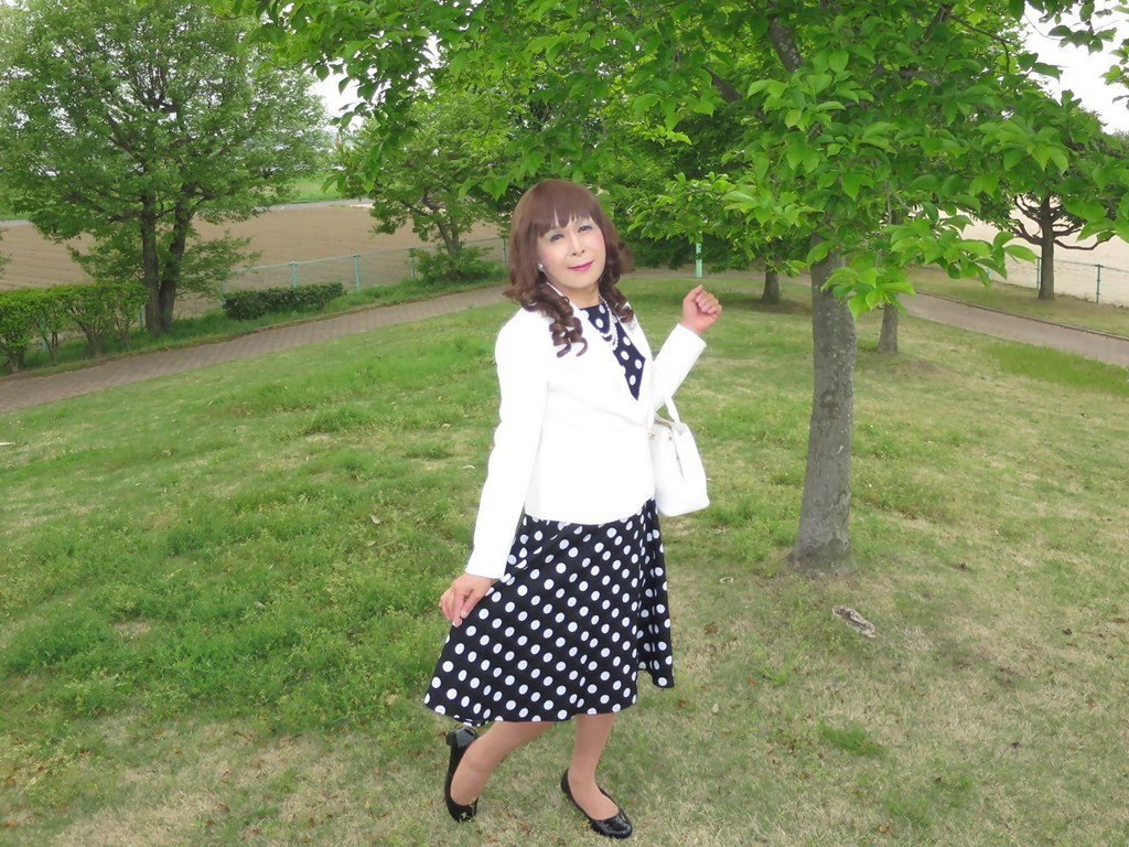 白ジャケット水玉ワンピA(5)