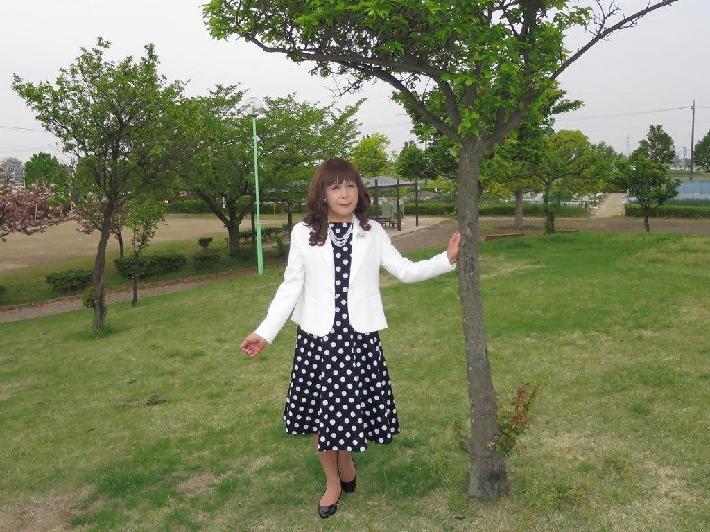 白ジャケット水玉ワンピA(7)