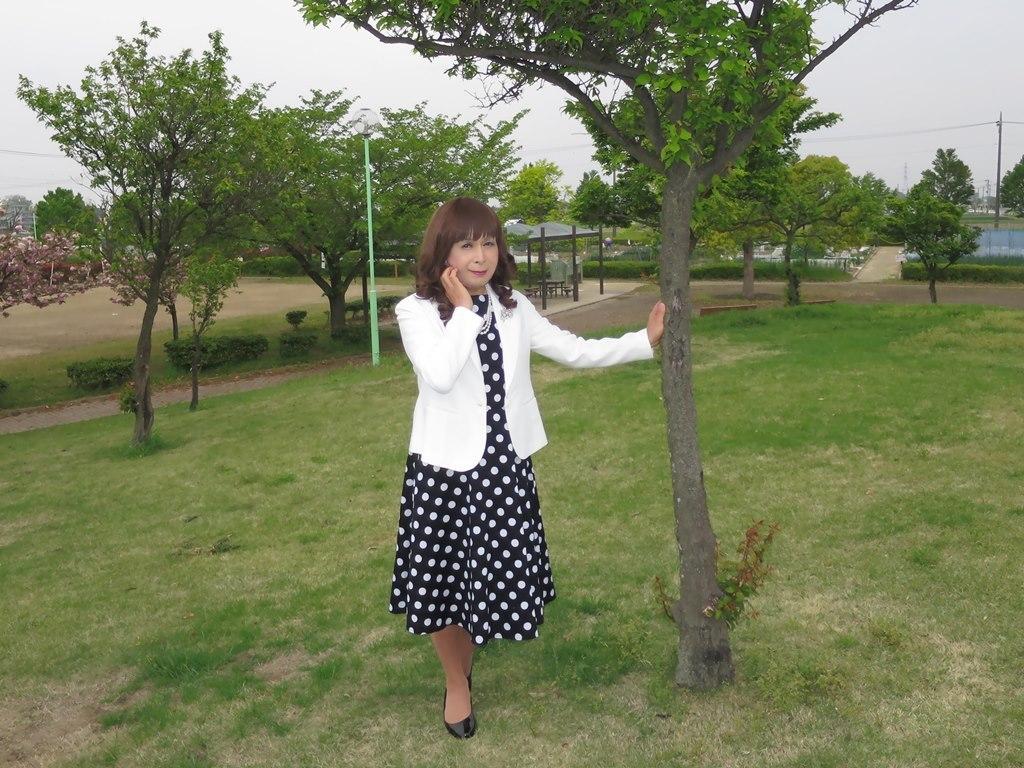 白ジャケット水玉ワンピA(6)