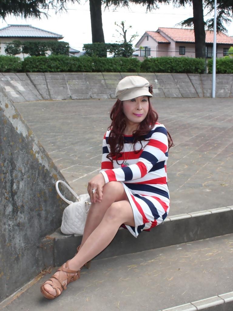 赤青白3色ボーダーワンピA(4)