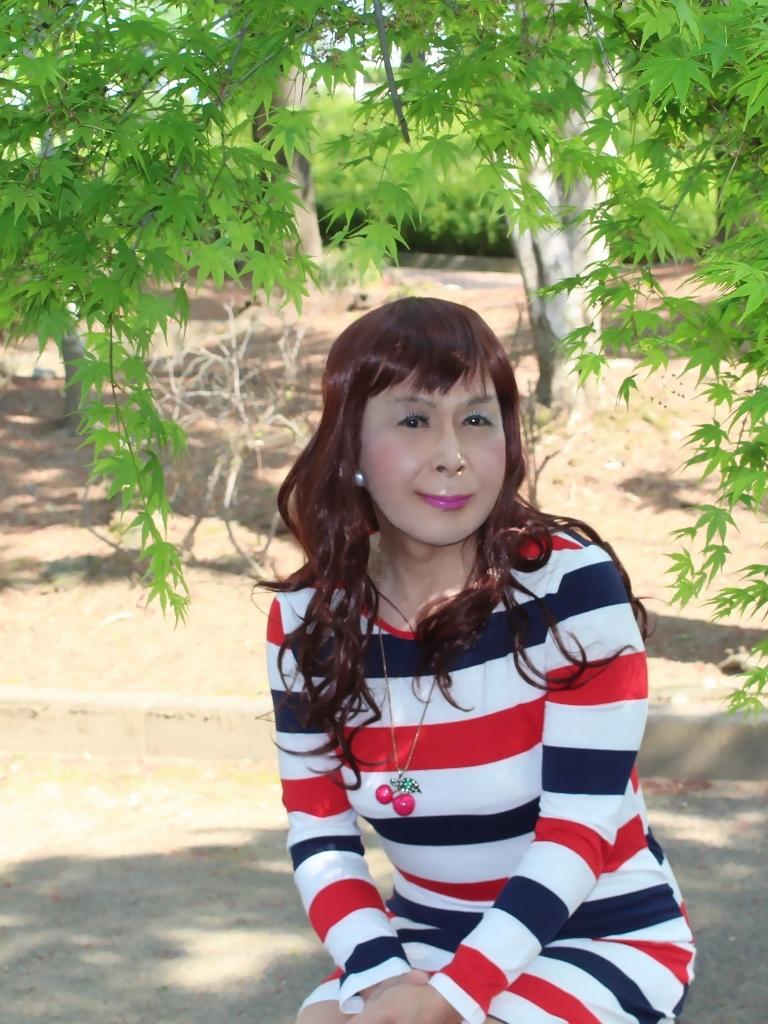 赤青白ボーダーワンピE(2)