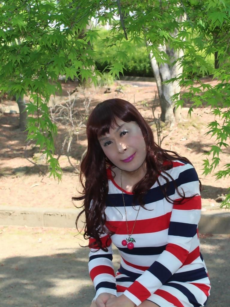 赤青白ボーダーワンピE(3)