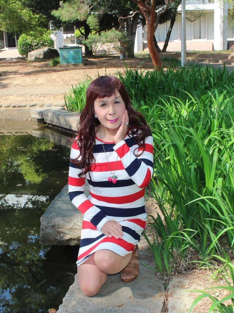赤青白ボーダーワンピE(4)