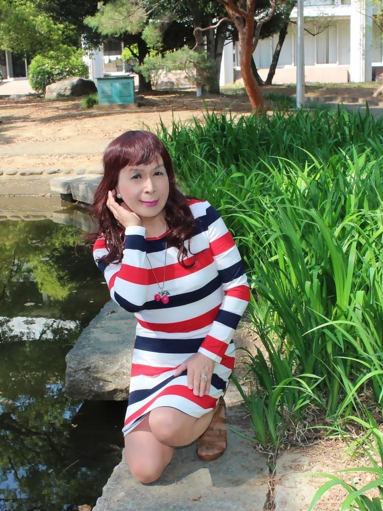 赤青白ボーダーワンピE(5)