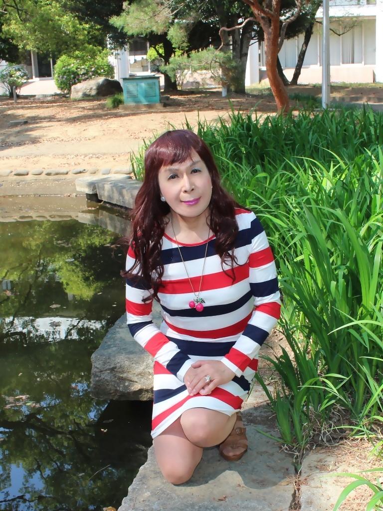 赤青白ボーダーワンピE(6)