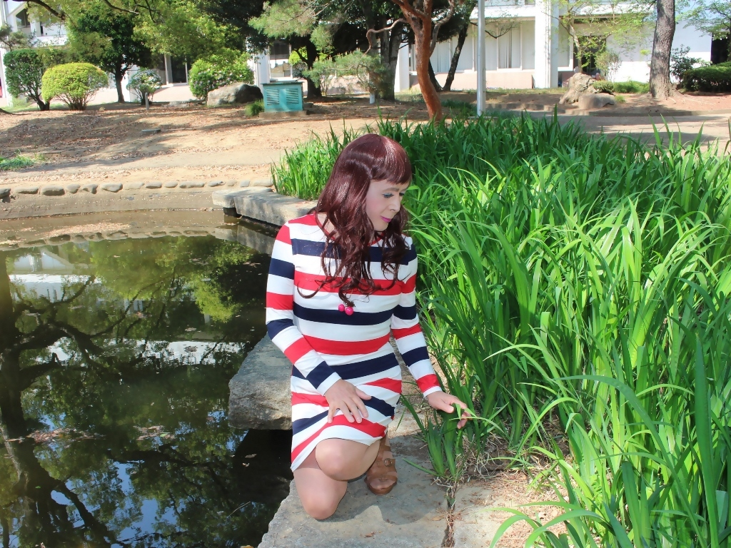 赤青白ボーダーワンピE(7)