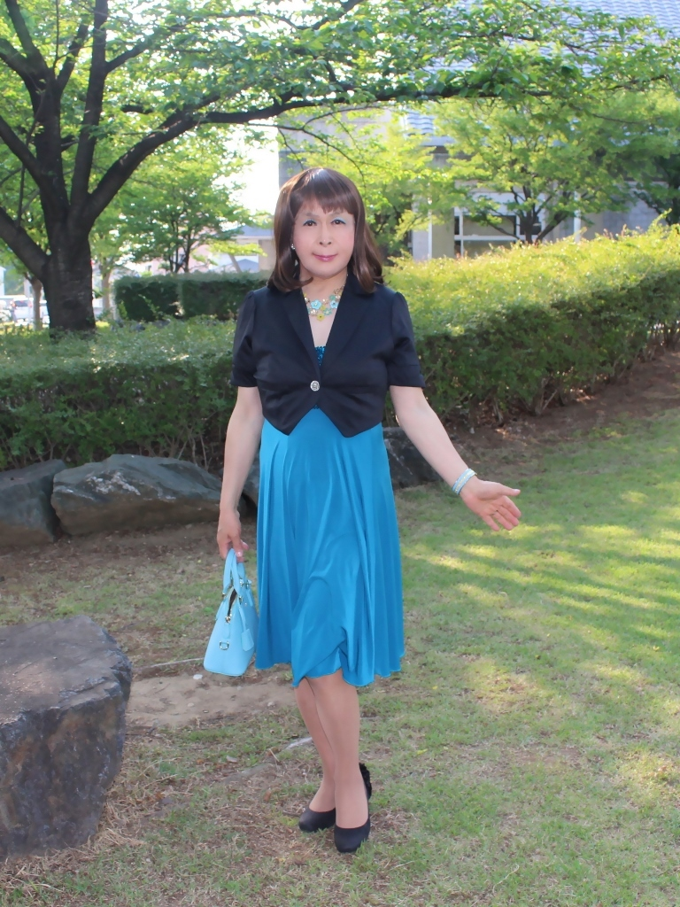 青胸元スパンコールドレスA(1)