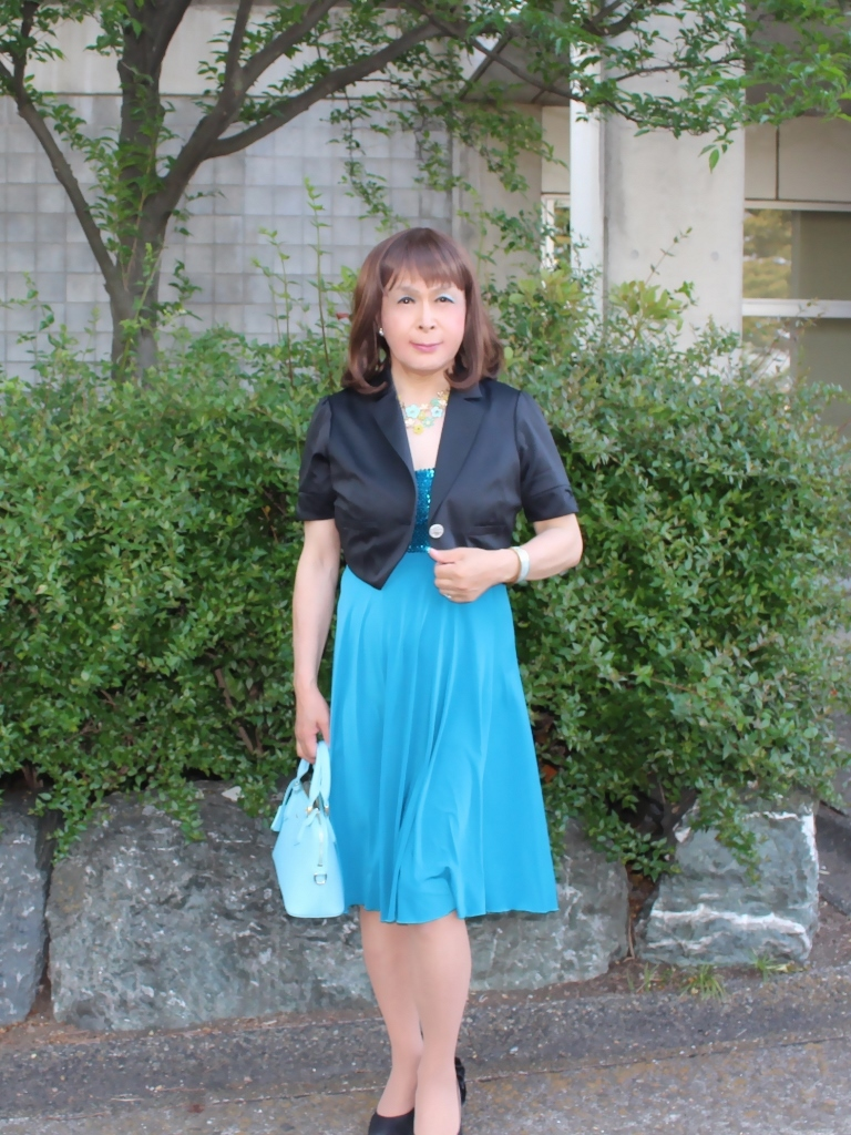 青胸元スパンコールドレスA(3)