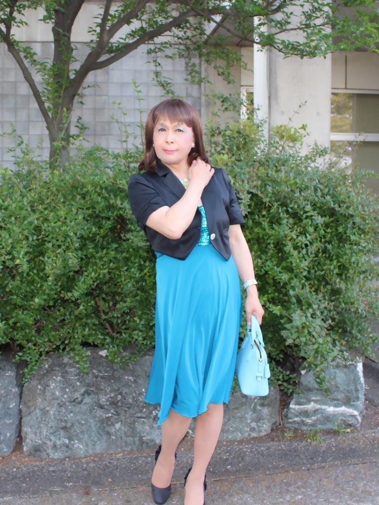 青胸元スパンコールドレスA(5)