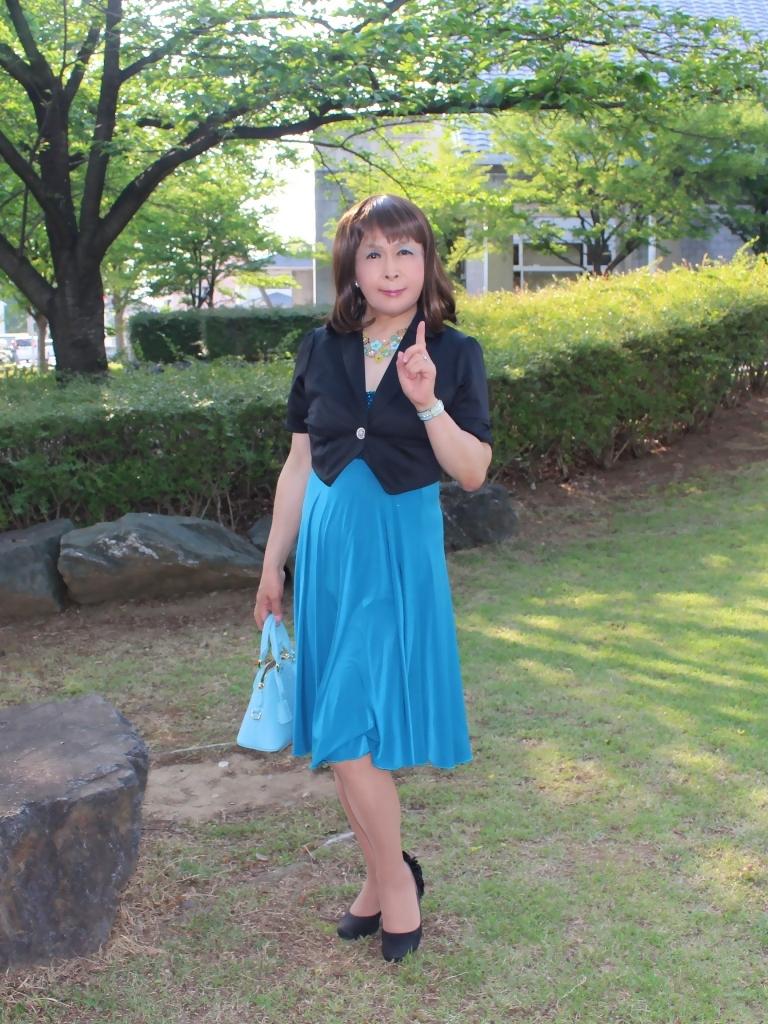 青胸元スパンコールドレスA(2)