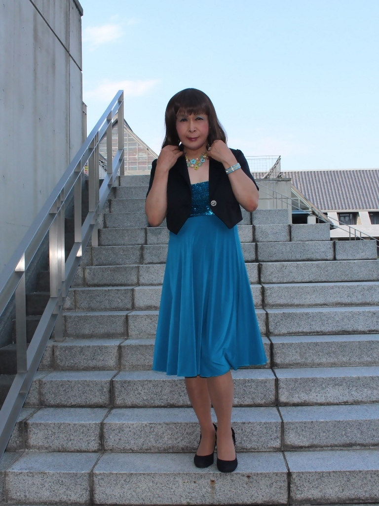青胸元スパンコールドレスB(3)