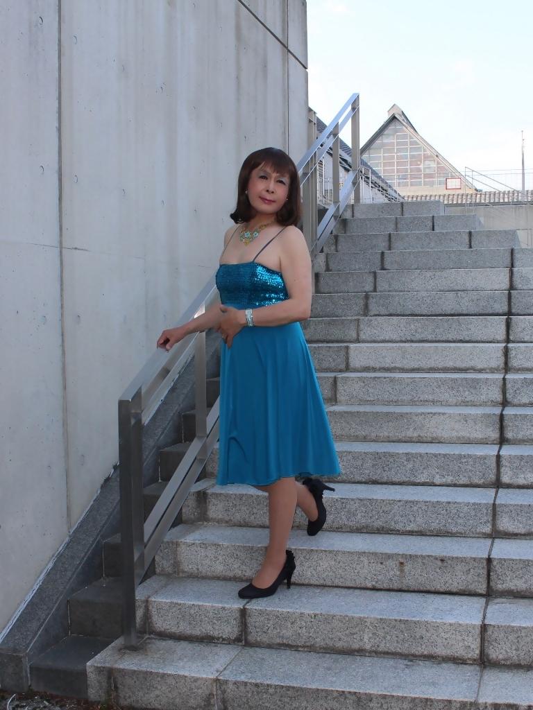 青胸元スパンコールドレスC(5)