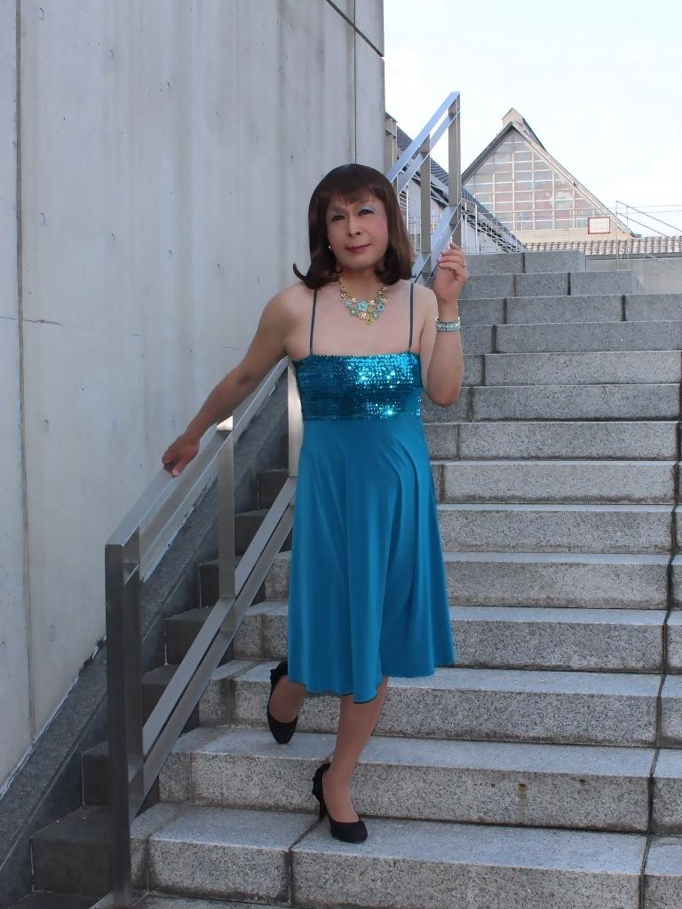 青胸元スパンコールドレスC(6)