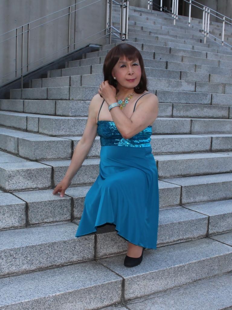 青胸元スパンコールドレスC(7)