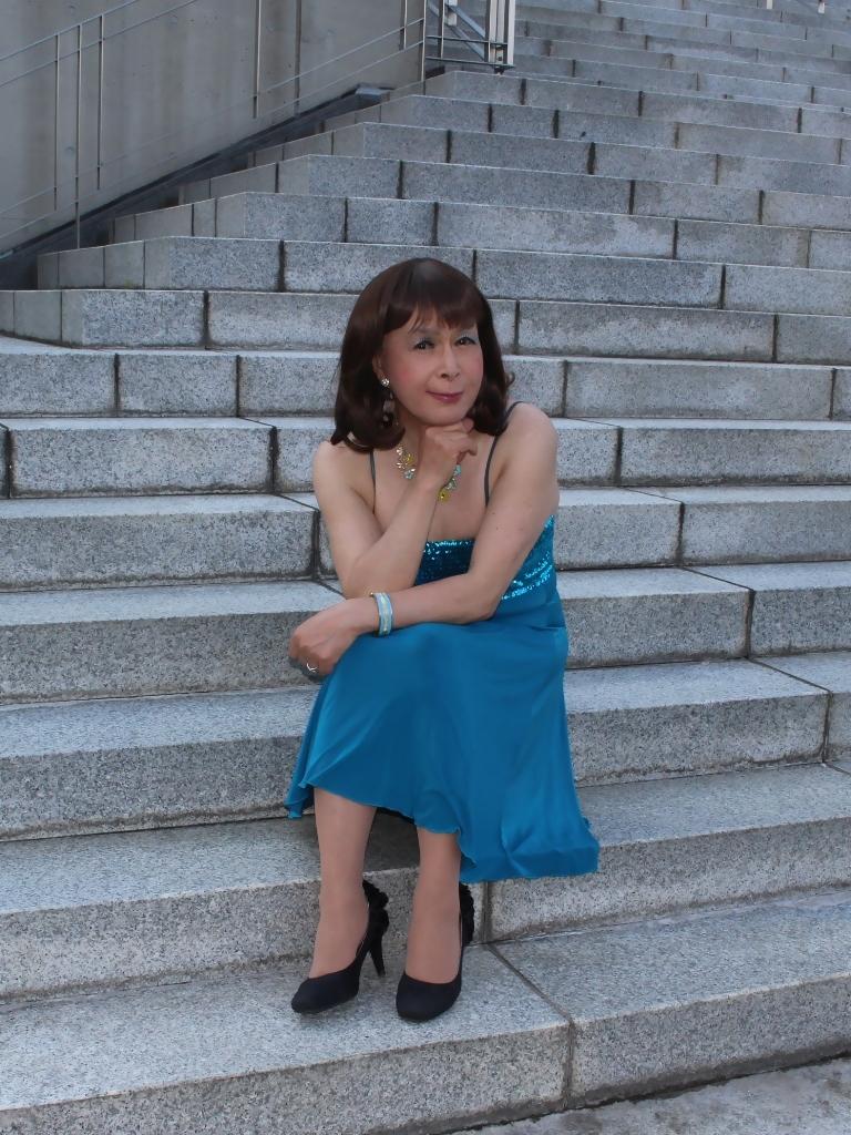 青胸元スパンコールドレスC(8)