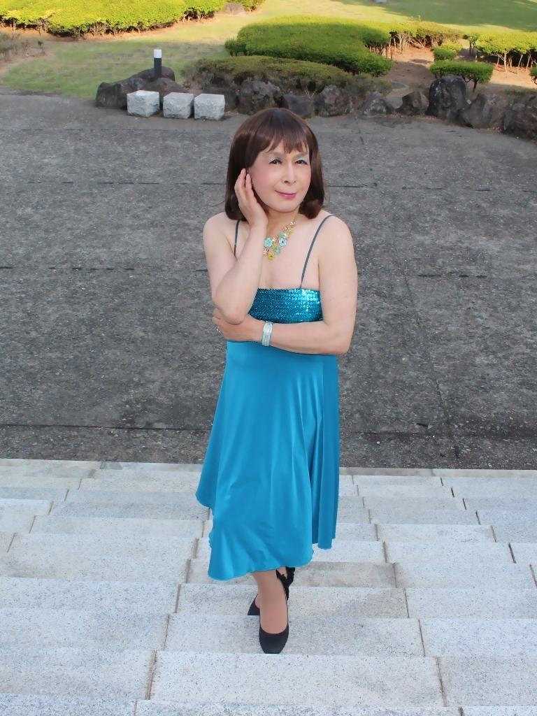 青胸元スパンコールドレスD(7)