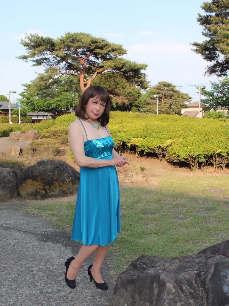 青胸元スパンコールドレスD(9)