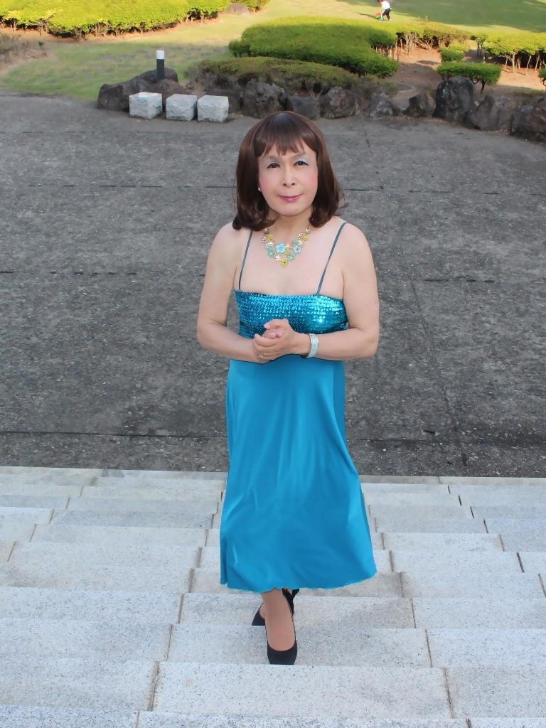 青胸元スパンコールドレスD(6)