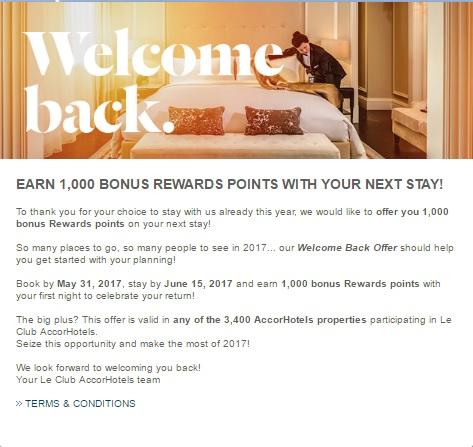 アコーホテル Welcome Back 1000ポイントボーナス(ターゲット)
