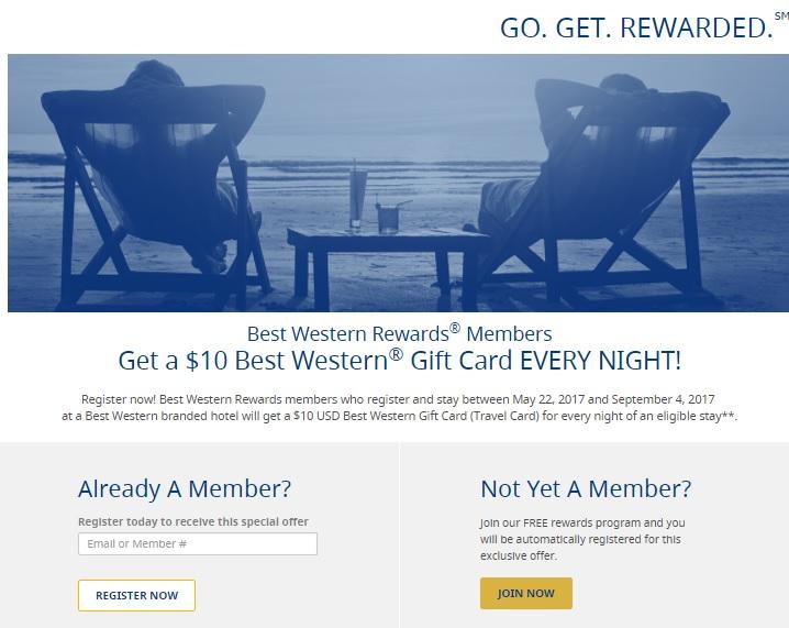 ベストウエスタンホテル 2017年夏のキャンペーン $ 20のトラベルカードがもらえます。