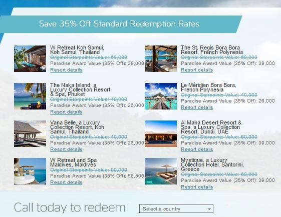 スターウッドで高級リゾートでスターポイントによる無料宿泊が35%OFF