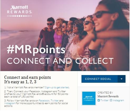 マリオットリワード Facebook、Twitter&Instagramアカウントを接続して150ポイントの無料ポイントを獲得