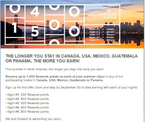 アコーホテルズ 米国、カナダ、パナマ、グアテマラの滞在で最大1500ボーナスポイント