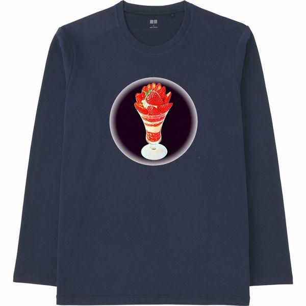 いちごパフェPRIZMA2黒バック円形フェードアウト長袖Tシャツ紺色リサイズ
