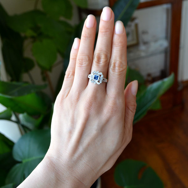 サファイアダイアモンドリング指輪ミステリーセッティング