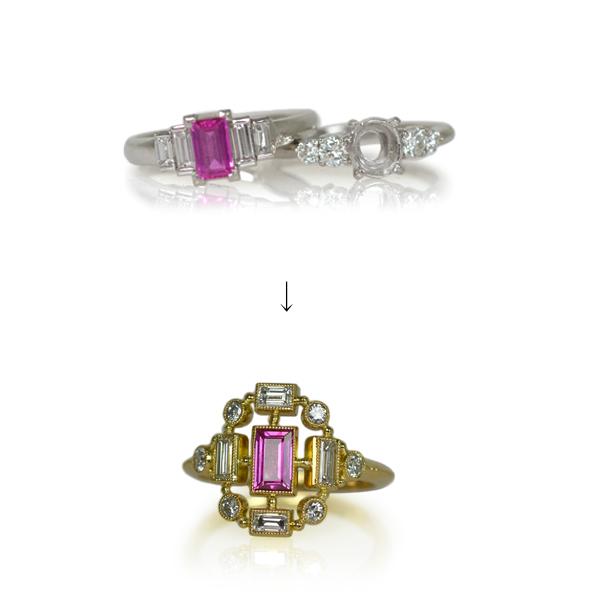 ルビーダイアモンドリング指輪作り変えリメイクリフォーム加工手作りハンドメイドオーダーメイドジュエリー